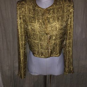 Laurence Kazar vintage Christmas gold beaded jacS